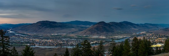 Kamloops and Thompson River Confluence at Dusk